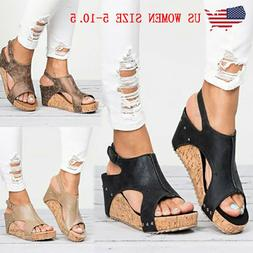 Women Sandals Summer Wedge Platform Heel Slingback Buckle Pu