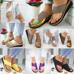 Women Soft Wedge Flat Sandals - Bunion Corrector Slippers Ca