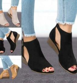 Women Suede Wedge Sandals Summer Ladies Ankle Strap Buckle P