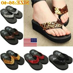 Women Summer Sequin Thong Flip Flops Wedge Sandals Platform