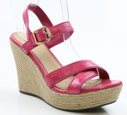Women UGG Jackilyn Pink Patent Leather Strappy Wedge Sandals