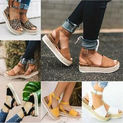Women Wedge High Heel Espadrilles Sandals Open Toe Summer An