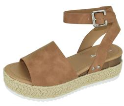 Soda Women Wedge Sandal Open Toe Strap Flatform Espadrilles