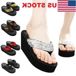 Womens Wedge Sandals Sequin Summer Thong Flip Flops Platform