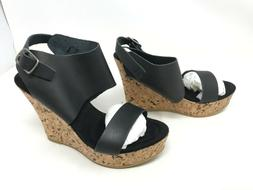 Womens Corkys  Aurora black wedge sandals