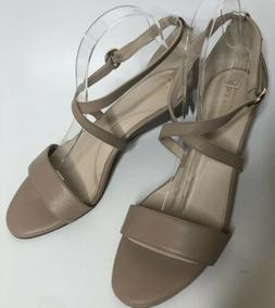 COLE HAAN Womens 9.5 B Beige Taupe Leather Low Wedge Strappy