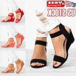 Womens Ankle Strap Buckle Sandals Ladies Wedge Heel Summer P