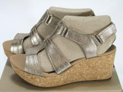 Clarks Womens Annadel Orchid Wedge Sandal Gold Leather Size