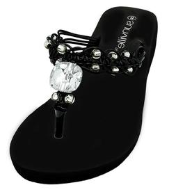 Womens Black Wedge Thongs Flip Flops Sandals Beaded Macrame