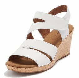Womens Rockport Briah Strappy Wedge Sandal - White Leather,