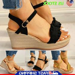 Womens Espadrilles Wedge Platform Ankle Strap Buckle Sandals