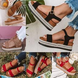 Womens Espadrilles Wedge Platform Buckle Sandals Peep Toe Su