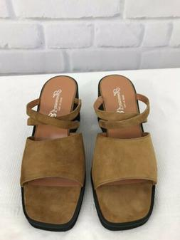 Fieramosca Womens Gold Leather Wedge Sandals Shoes Size 8M M