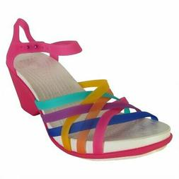 Crocs Womens Huarache Wedge Sandal Shoes, Multi/Candy Pink