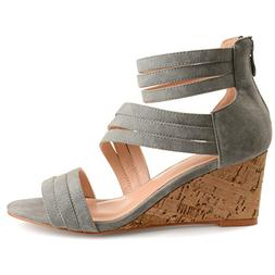 Brinley Co. Womens Lacey Strappy Faux Leather Faux Cork Wedg