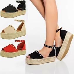 WOMENS LADIES CHUNKY PLATFORM ESPADRILLES ANKLE STRAP SUMMER