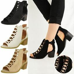 WOMENS LADIES LOW WEDGE HEEL SANDALS LACE UP CUT OUT SHOES A