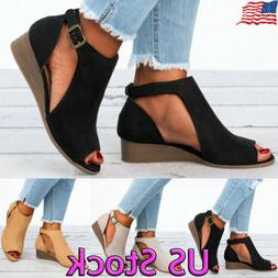 womens ladies peep toe wedge sandals buckle
