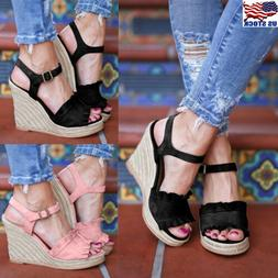 Womens Ladies Wedge Sandals Open Toe High Heels Buckle Strap