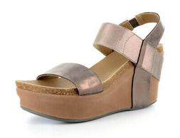 Corkys Womens Leather Strap Wedge Sandal New Without Box