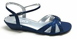 Touch Ups Womens Lena Wedge Ankle Strap Sandals Navy Blue Si