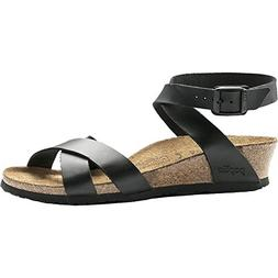 Birkenstock Womens Lola Leather Open Toe Casual, Black Leath