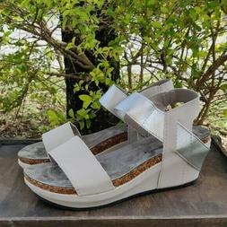 Womens Low Wedge Sandals Spring Shoes Heels Gray Sliver