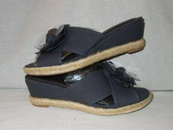 LifeStride  Womens Omega NAVY  Wedge Sandals Shoes 6 WIDE