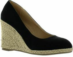 Delicious Womens Parma Round Toe Espadrille Wedge Slip on Sa