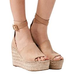 womens platform espadrille wedges peep toe high