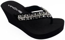 Aimone Womens Platform Wedge Rhinestone Beach Sandals Flip F