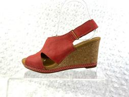 womens red suede cork wedge sandals size