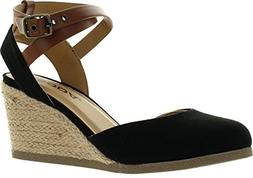 SODA Womens Request Closed Toe Espadrille Wedge Sandal in Bl