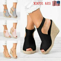 Womens Sandals Casual Wedges Heel Straw Platform Peep Toe La