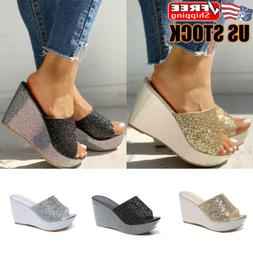Womens Sequin Platform Wedge Sandals Slippers Ladies Slip On