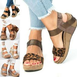 Womens Summer Wedge Sandals High Heels Platform Chunky Casua