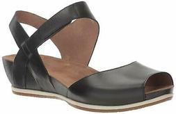 Dansko Womens Vera Burnished Leather Peep Toe Casual, Black
