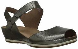 Dansko Womens Vera Burnished Leather Peep Toe Casual, Pewter