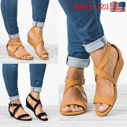 Womens Wedge Low Heel Casual Sandals Ladies Summer Open Toe