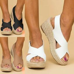 Women Wedge Platform Sandals Espadrille Ankle Strap Peep Toe