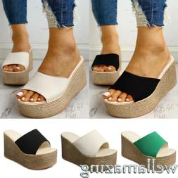 WOMENS WEDGE SANDALS HIGH HEELS PLATFORM ESPADRILLE SLIPPERS