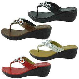YOUNG-08 Womens Sandals Low Wedge Heel Flip Flops Thong Shoe